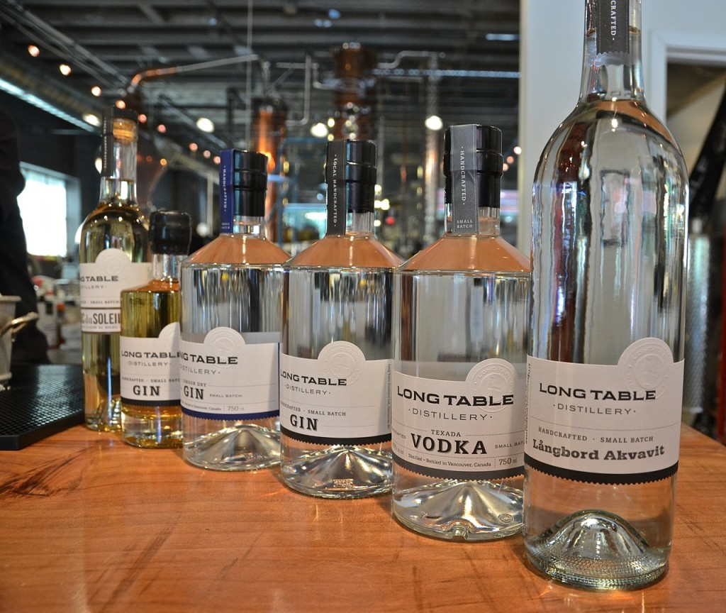 Among Long Table Distillery's popular offerings - Cucumber Gin, London Dry Gin, and Texada Vodka.